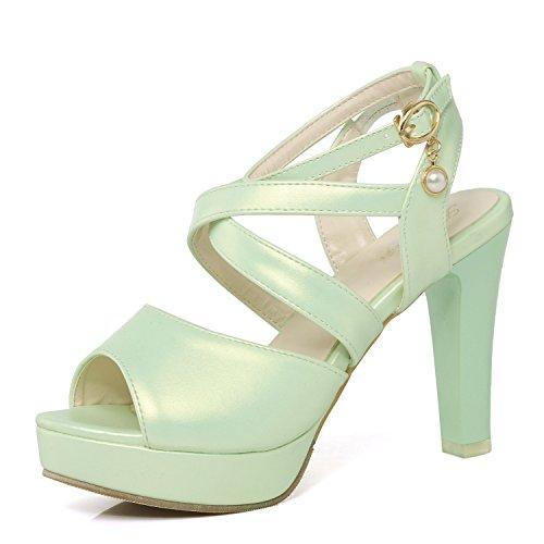 Mujer Toe amp;x Sandalias De Qin Green Tacones Bloque Peep 7q6HqwRx