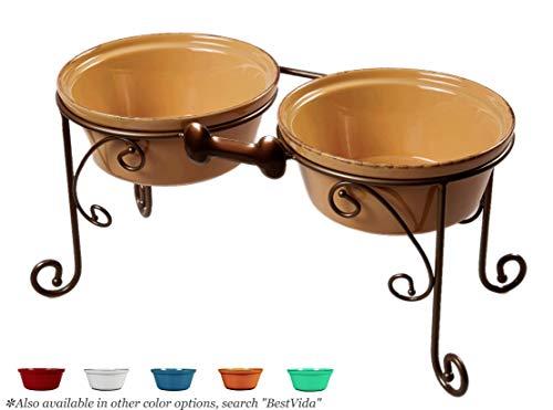 BestVida Sparks Raised Dog Bowls (Large, Almond)