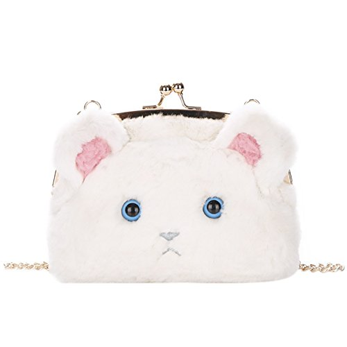 QZUnique Women's Plush Shoulder Handbag Cute Bag Cat Crossbody Fluffy Kiss Bag Bag Beige Shoulder Fur Tote Luck Soft qqwFrX