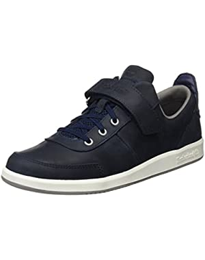 Court Side Oxford Navy Leather Youth Boat Shoes