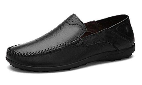 Men Elegant Shoes (Go Tour Men's Premium Genuine Leather Casual Slip On Loafers Breathable Driving Shoes Fashion Slipper Black 46)
