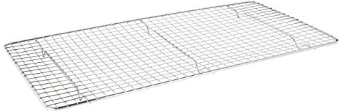 Update international Cross-Wire Grid Cooling Rack, Wire Pan Grate, Baking Rack, Icing Rack, Chrome Plated Steel, Rectangle Shape, 6-Raised Feet, Commercial Quality, Full Size - 10 x 18 Inches