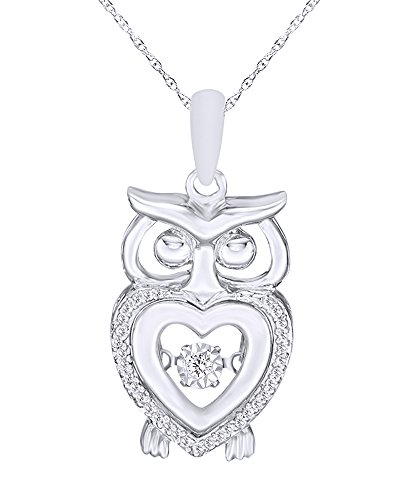 wishrocks Mothers Gift Natural Diamond Accent Heart Owl Pendant Necklace in 14K White Gold Over Sterling Silver