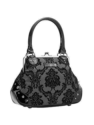 Rock Bag Purse Rebel - Rock Rebel Mistress Black on Black Victorian Damask Retro Kisslock Purse