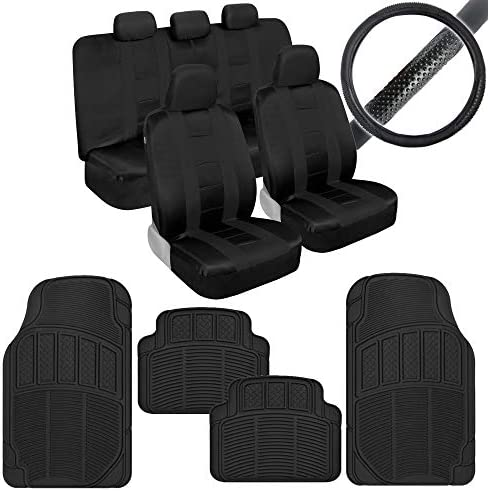 BDK AutoSport Full Set Combo All Protective Seat Covers (2 Front 1 Bench) with Universal Heavy-Duty All-Weather Trim Fit Rubber Floor Mats (4 Mats) & Steering Wheel Cover for Car Auto Sedan Truck SUV
