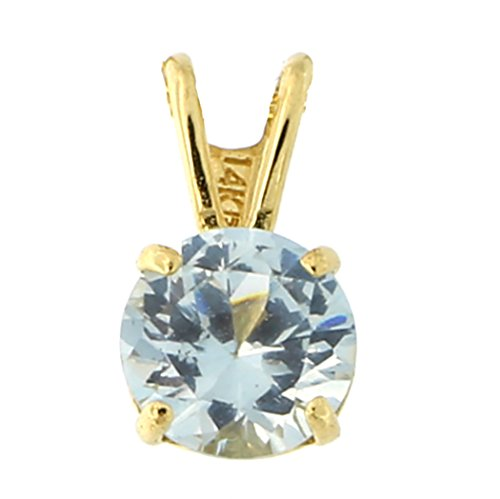 14k Yellow Gold 7mm Simulated Aquamarine Solitaire Pendant Necklace, pendant only (Gold 14k Yellow Marine)