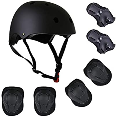 Riding elbow wristband children s helmet black suit kneepad piece set roller skating protective gear BAAYD protection full skateboarding skates balance bike helmet-black Estimated Price £35.99 -
