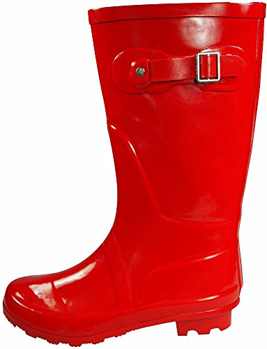 Hurricane 14 amp; Women's Waterproof Matte Red Solids Calf Mid Glossy Prints Wellie Rainboots and NORTY 5g1xqwtHg