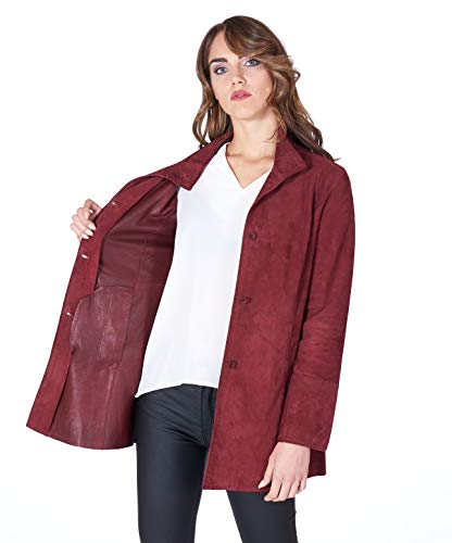 Bordeaux Suede Unlined Lamb Leather Coat