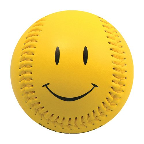 EnjoyLife Inc Yellow Smiley Face Baseball (Rubber (Baseball Smiley Face)