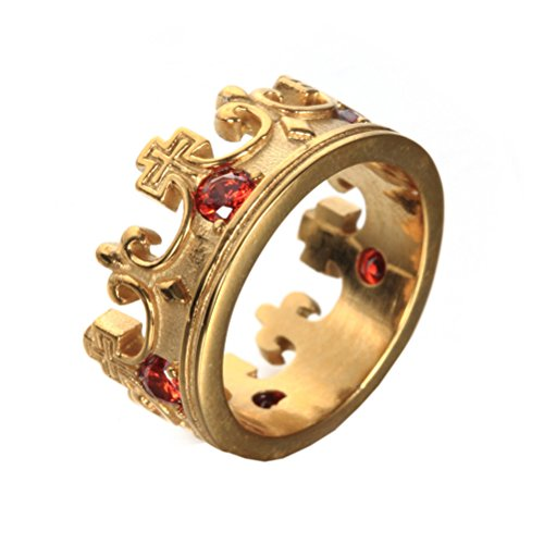 (Oakky Men's Women's Stainless Steel Gold Plated Retro Royal King Crown Red Gemstone Inlaid Ring Size 9)