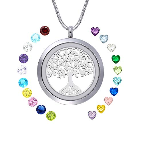 WIGERLON Family Tree of Living Memory Lockets Stainless Steel Necklace Pendant with Birthstones Gifts for Your Love