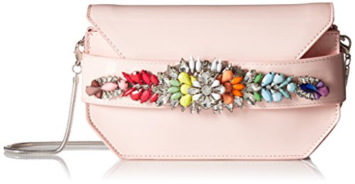 (Steve Madden Pauline Patent Multi Colored Jewels and Rhinestones Clutch Crossbody, blush)