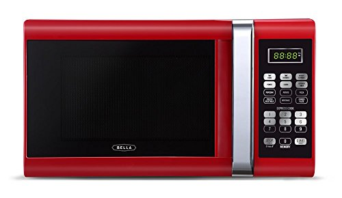 Bella 900-Watt Microwave Oven, 0.9 Cubic Feet, Red with Chro