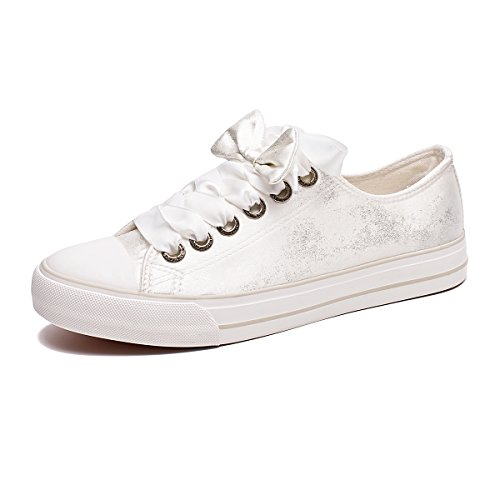 Pictures of ZGR Womens Fashion Canvas Sneaker Low Cut White4 8 M US 8
