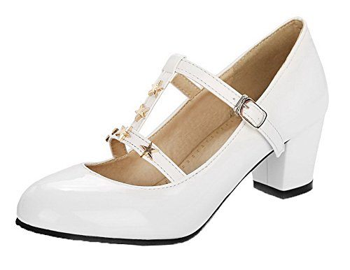 Pumps Round WeenFashion PU Heels Buckle Toe Shoes Kitten Solid White Women's fxEZx84