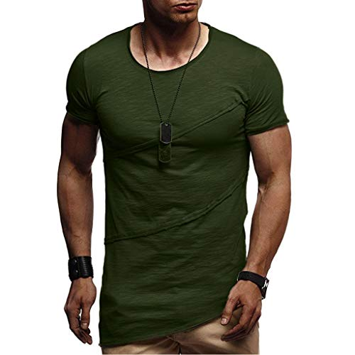 Men's Adult Short Sleeve Tee, Style Muscle Summer Patchwork Solid Short Sleeve O-Neck T-Shirt Top Blouse Army Green