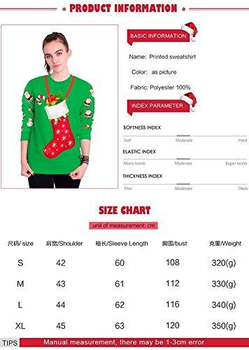 M Loose Apparel Manica 3d Del Girocollo Unisex Festival Giorno Autunno Tops Fuweiencore Lunga Taglia Maglione Di Inverno Carnevale colore Print Felpe Wild Natale Pattern Verde Verde 0wS6qzY