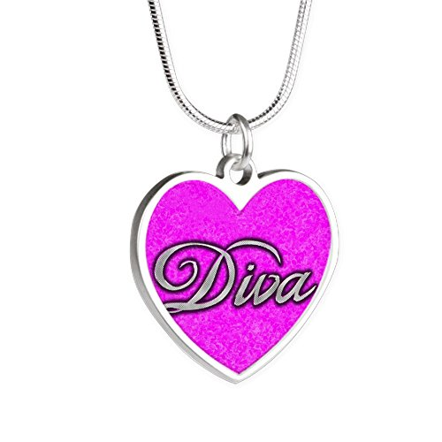 Silver Heart Necklace Pink Diva Princess by Royal Lion