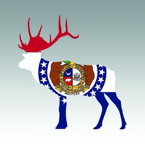Missouri Photo Workshop - RDW Missouri Deer Shaped Flag Sticker - Die Cut - Decal MO stag hunting hunter archery antlers 4.00