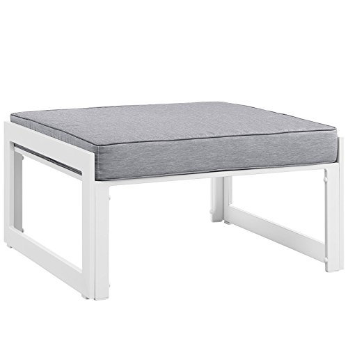 Modway Fortuna Aluminum Outdoor Patio Ottoman in White Gray