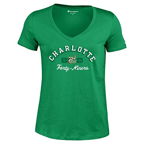 Unc Charlotte Football Team - Champion NCAA Women's University Short Sleeve Tagless V-Neck Tee Charlotte 49ers Medium