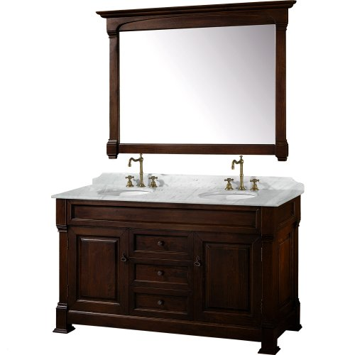 Wyndham Collection Andover 60 inch Double Bathroom Vanity in Dark Cherry with White Carrera Marble Top with White Undermount Sinks (Carved Double Sink Vanity)