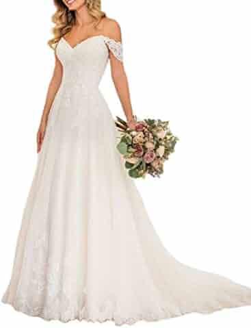 2a7a4949fa99 Lilyla Women's Off The Shoulder Wedding Gowns A Line Mermaid Wedding Dresses  for Bride