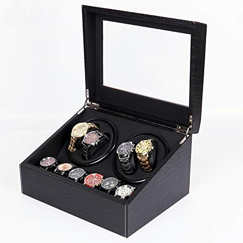 MENG-DuDu Luxury 4+6 Automatic Watch Winder, Handcrafted 10 Grid Watch Box, Leather Watch Organizer, Jewelry Display Collection Storage Case (Black)