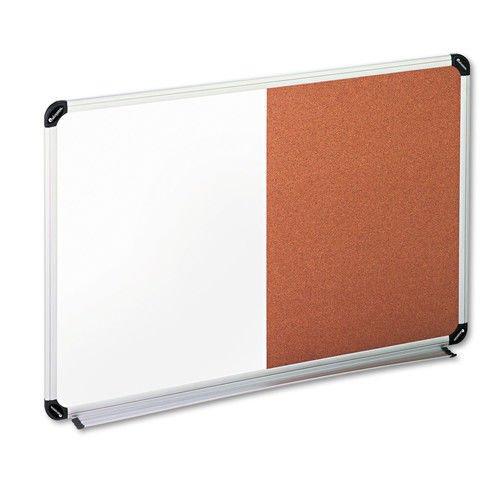 Universal Cork/Dry Erase Board, Melamine, 36'' x 24, Black/Gray, Aluminum/Plastic Frame (43743)