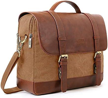15.6 Inch Laptop Bag,Brown Messenger Satchel Shoulder Bag for Men and Women