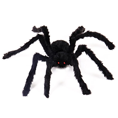 Etmact Giant Black Spider Halloween Spider and Plush Scary Spider Toys for Kids Halloween Party Decorations or Haunted House Decor(1 Pack) (30 inches)
