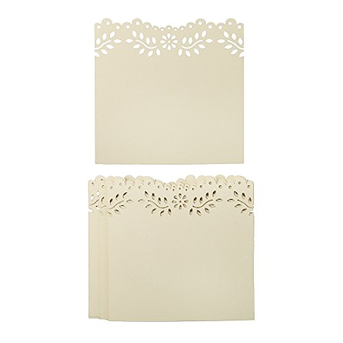 Wine Party Invitation Wording (60cs White Gold Shimmer Placecards Laser Cut Hollow Floral DIY Table Cards Vintage Pearlescent Invitations Namecards)