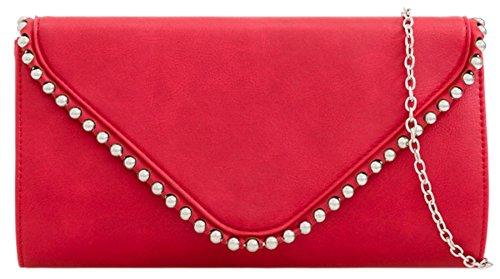 Girly HandBags Studs Trim Clutch Bag Red
