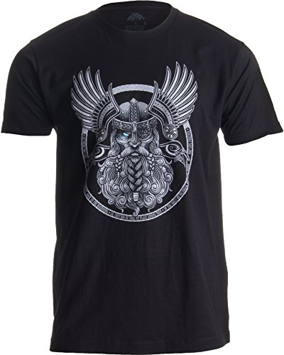 Odin | Norse Mythology God Valkyrie Valhalla Viking Raven Nordic Thor T-Shirt-(Adult,M) Black