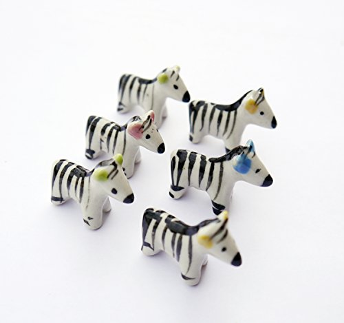 6 pcs Miniature Dollhouse Animal Fairy Garden Micro Landscape DIY Landscaping Handmade Color May Vary(Zebra)