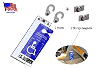 1 MirorTag Gold Holder +2 Hooks +2 Storage Magnets: A Novel Way to Protect, Display & Put Away a Handicapped Parking Placard. Unlike the thin & flimsy ones, this holder is much thicker & will never melt or bend or break in the sun or cold. Magnetically sn