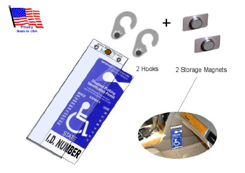 1 MirorTag Gold Holder +2 Hooks +2 Storage Magnets: A Novel Way to Protect, Display & Put Away a Handicapped Parking Placard. Unlike the thin & flimsy ones, this holder -
