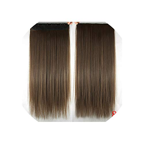 betterluse Long Straight Black to Gray Natural Color Women Ombre Hair High Temperature Synthetic Hair Piece Clip in Hair -