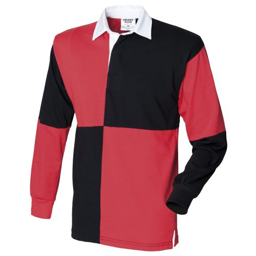 - Front Row Quartered Rugby Sports Polo Shirt (XL) (Black/Red (White collar))