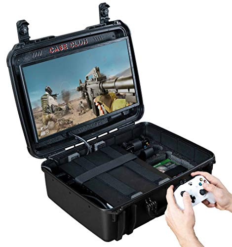 Case Club Waterproof Xbox One X/S Portable Gaming Station with Built-in Monitor & Storage for Controllers & Games (Best Gaming Monitor For Xbox One X)