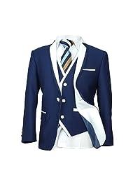SIRRI 3 PC or 5 PC Exclusive Dark Blue & White Single Button Boys Suit