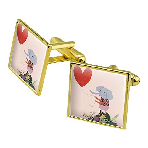 Graphics and More Cute Elephant Holding a Heart Shaped Balloon Square Cufflink Set Gold Color