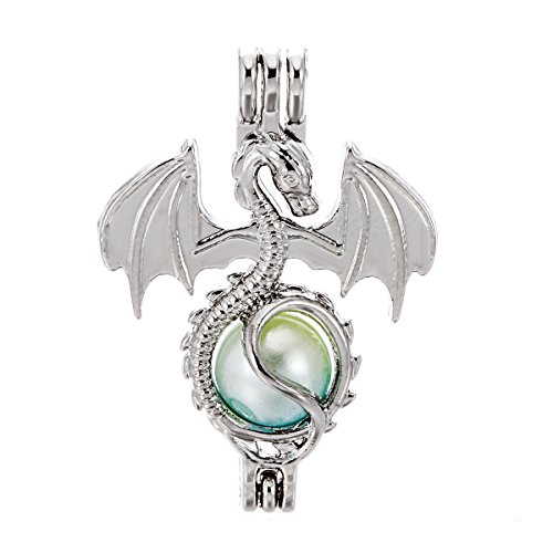 10pcs Silver Dragon Pearl Cage Locket Beads Cage Pendant Essential Oil Diffuser Locket DIY Bracelet Necklace Earrings Jewelry Making Supplies (Dragon) ()