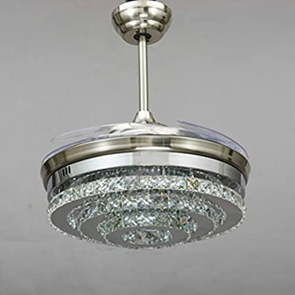 retractable lighting fixtures. Jubilant Lifestyle Modern Crystal Remote Control Transparent Acrylic 4 Blade Retractable Ceiling Fan With Chandelier Lamp Lighting Fixtures 1
