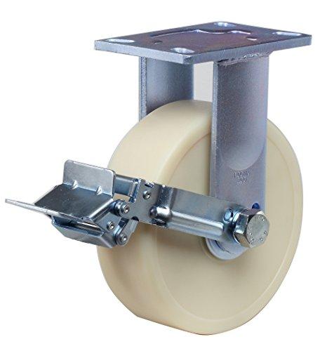 6-1//4 Plate Length FOOTMASTER GF-150B-SF-MUD 6 Diameter Polyurethane Top Plate Caster Dual HD Precision Bearing 1750 lb Capacity Range Swivel with Wheel Brake 4-1//2 Plate Width 7-1//2 Mounting Height