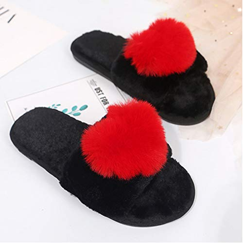 Non Indoor Warm skid Cozy Pink Cute Gu Slipper Pom Shoes Women Fuzzy r Pom nwWqYfBHv