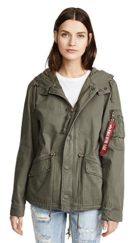 Transition Midweight Jacket - Alpha Industries Women's Swoop Fishtail Parka, Olive, X-Large