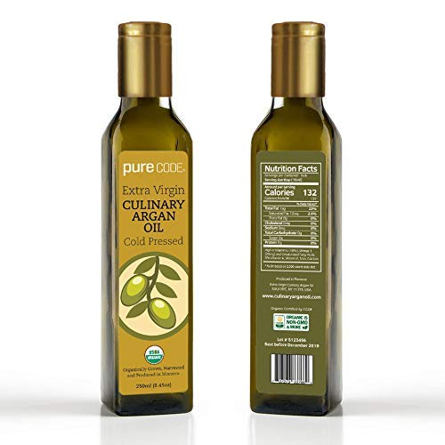 PURECODE Extra Virgin Culinary Argan Oil 8.5oz Cold Pressed, Organically Grown, Harvested and Produced in Morocco by PURE CODE