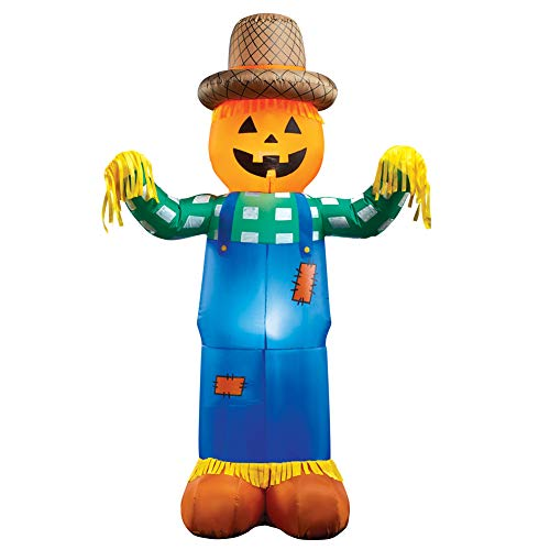 Inflatable Harvest Scarecrow Lighted Halloween Yard Decoration with Stakes to Secure in Ground (Yard Scarecrow Stake)